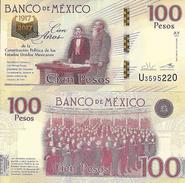 C) MEXICO, 100 PESOS 1917 - 2016 / 2017 P NEW DESIGN 100TH COMM. UNC, 100 YEARS OF CONSTITUTION, CONMMEMORATIVE BANKNOTE - Mexico