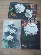 CARTE FANTAISIE Fleurs 3 Cpa Croissant Fontane Paris Série 274 Marguerite Roses Sainte Marie Bonne Fête Lettres Dorées - Fleurs, Plantes & Arbres