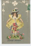 """ENFANTS - LITTLE GIRL - MAEDCHEN - Jolie Carte Fantaisie Gaufrée Fillette Et Fleurs De """"Bonne Année"""" (embossed Postcard) - Nouvel An"""