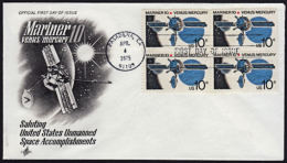 A1009 UNITED STATES  USA 1975, SG 1553 Mariner 10 Venus & Mercury Space Mission  FDC - Lettres & Documents
