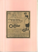 FRANCE . BALAI O-CEDAR  . PUB  DES ANNEES 1920  . DECOUPEE ET COLLEE SUR PAPIER . - Publicités