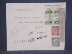 ESPAGNE - Enveloppe Par Avion Pour Lyon En 1938 Avec Censure , Affranchissement Plaisant - L 6929 - Marques De Censures Nationalistes
