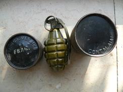 Grenade US Mk2 Ww2 Neutralisée Et Son Container Ww2 - Armes Neutralisées