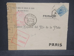 ESPAGNE - Enveloppe Commerciale De Ribadeo Pour La France En 1915 Avec Contrôle Postal Militaire - L 6933 - Covers & Documents