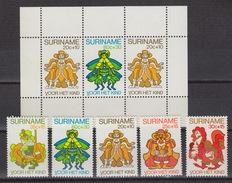 SURINAME : 801-5 + Block 31  ** MNH – ANANSI (for Child) (1980) - Surinam