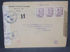 ESPAGNE - Enveloppe De Madrid Par Avion Pour Paris En 1942 Avec Censure De Madrid Et Contrôle Allemand - L 6942 - Marques De Censures Nationalistes