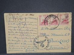 ESPAGNE - Carte Postale Pour Paris En 1940 Avec Censure De Madrid Et Contrôle Allemand - L 6943 - Marques De Censures Nationalistes
