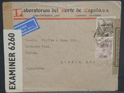 ESPAGNE - Enveloppe Commerciale Pour Londres En 1941 Avec Censure De Barcelone Et Contrôle Anglais - L 6944 - Marcas De Censura Nacional