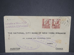 ESPAGNE - Enveloppe De Irun Pour La France En 1938 Avec Double Censure - L 6946 - Marques De Censures Nationalistes