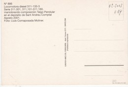 CPM LOCOMTORA DIESEL 311-133-3 EUROFER-AMICS DEL FERROCARRIL  Scans Recto Verso N° 885 - Trenes