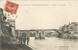 Villeneuve Sur Lot Le Pont Vue D'amont Edit Astruc Circulee En 1908 - Villeneuve Sur Lot