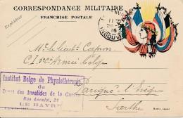 Carte Franchise Drapeaux Le Havre 26.2.16 - Institut Belge De Physiothérapie Du Dépôt Des Invalides De La Guerre - WW I