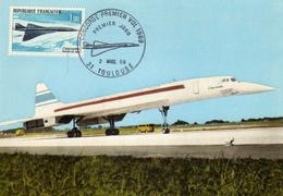 1er Jour FDC Timbre Concorde 1er Vol Oblitération Toulouse 1969. Avion Supersonique Aviation - 1946-....: Ere Moderne