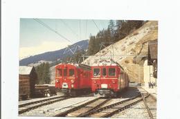 """A LANGWIES CROISEMENT DE L'ABe 4/4 , 32 """"BERNINA"""" ET DE L'ABDe 4/4 , 483     19.3.1972 - GR Graubünden"""