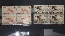 ALGERIE ALGERIA BLOC RED CROSS CROIX ROUGE FENNEC FENEC DESERT FOX FOXES BIRD BIRDS CIGOGNE YT 343 344 343/4 1957 ** MNH - Algérie (1924-1962)