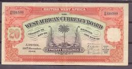 British West Africa   20 Shillings 1948  XF - Billets