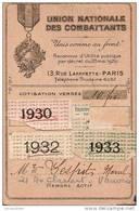 Union Nationale Des Combattants/UNC//VANVES/C Arte De Membre Actif/1930-35            VP389 - Documentos Antiguos