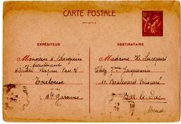 TOULOUSE (31 ) ENTIER. IRIS 80c Pour BAR-le-DUC (55) - 1939-44 Iris