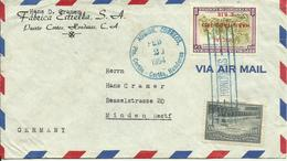 1954  Air Mail Letter From Puerto Cortes To Minden, Germany - Honduras