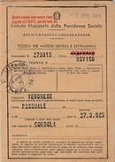 6322. Lp   Inps Tessera Marche Mensili E Settimanali 1958 Torino Rovigo Corbola - Vecchi Documenti