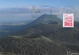 Carte-Maximum FRANCE N° Yvert 2951 (AUVERGNE - VOLCANS) Obl Sp FLAMME Ill Orcines (Ed Debaisieux) - Cartas Máxima