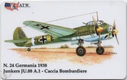 Scheda Telefonica ATW Serie Aerei N. 24: Germania 1938 Junkers JU.88 A.1 Caccia - Anno 1999 - Flugzeug, Avion, Airplane - Aerei