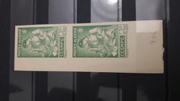 ALGERIE ALGERIA IMPERF ND IMPERFORATE PAIR PAIRE NON DENTELE BIG MARGIN CCSMPG YT 206 SCOTT B40 1944 ** MNH - Algérie (1924-1962)