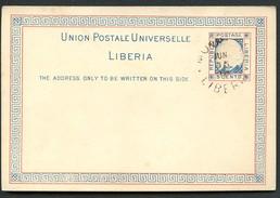LIBERIA Postal Card #3 Moved Portrait Of President Johnson MONROVIA 1895 - Liberia