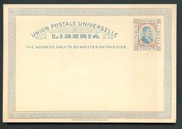 LIBERIA Postal Card #4 Postmaster Wiles Mint Vf 1892 - Liberia
