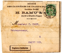 """RAON-L'ETAPE (88) PAPIERS D'AFFAIRES. SOCIETE Des CARRIERES De TRAPP 1907. CACHET AMBULANT """" ST-DIE à LUNEVILLE """" - France"""