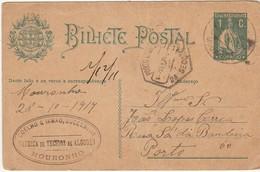 Postal Stationery * Portugal * Mouronho * 1917 * Coelho & Irmão, Successor * Diagonal Fold - Postal Stationery