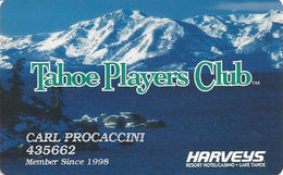 Harvey's Casino Lake Tahoe, NV - Slot Card - Faraday Over Mag Stripe - Casino Cards