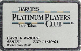 Harvey's Casino - Lake Tahoe, NV - Platinum Players Club Slot Card With No Text Over Mag Stripe - Casino Cards