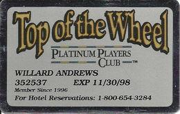 Harvey's Casino - Lake Tahoe, NV - Top Of The Wheel Platinum Players Club Slot Card - Casino Cards