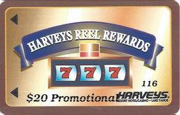 Harvey's Casino - Lake Tahoe, NV - $20 Promo Reel Rewards - Small 2.8 Inch Banner - Slot Card - Casino Cards