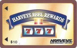 Harvey's Casino - Lake Tahoe, NV - Small $10 Reel Rewards - Small 2.8 Inch Banner - Slot Card - Casino Cards
