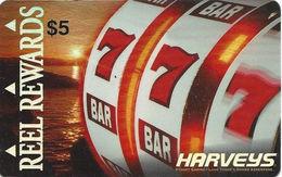 Harvey's Casino - Lake Tahoe, NV - $5 Dull Crinkled Metallic Reel Rewards Slot Card - Casino Cards