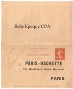 FRANCE - Entier Postal / Carte-Lettre Non Perforée - 10c. Semeuse Rouge - Repiquage Hachette 1914 - Entiers Postaux