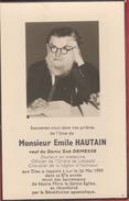 Faire-parts Mortuaire- Emile Hautain , Docteur En Médecine , Décédé Le 26 Mai 1959 - Décès