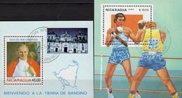 Papst Paul 1983 Nicaragua Blocks 148+150 O 4€ Landkarte Kirche Sportspiele Blocs Box M/s Sheets Bf Olympic Ss Topic - Nicaragua