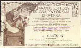 ITALIA - Biglietto Da  L.2 Della GRANDE LOTTERIA Italiana Pro Orfani Di Guerra -l 1922 - Biglietti Della Lotteria