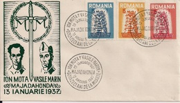 "1957  Romania Roumanie Rumanien EXIL - FDC "" ION  MOTA V ASILE MARIN  UNGEZÄHNT - Europa-CEPT"