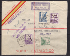 España 1938. Canarias. Carta De Las Palmas A Hamburgo. Censura. - Marcas De Censura Nacional