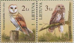 Lietuva Litauen 2014 MNH ** Mi. Nr. 1156-1157 Red Book Owls