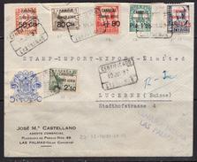 España 1937. Canarias. Carta De Las Palmas A Lucerne. Censura. - Marcas De Censura Nacional