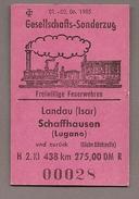 Pappfahrkarte - Gesellschafts-Sonderzug - Freiwillige Feuerwehren - Landau - Schaffhausen 1985 - Bahn