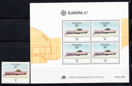 PORTUGAL-AÇORES 1987.EUROPA-CEPT  AFINSA Nº 1801+BLOCO Nº 90 NOVO SEM CHARNEIRA.SES520GRANDE - Aéreo