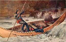 272861-Native American Indian, Artist Signed Frank Feller, Trout Fishing In Canoe, Valentine & Sons Artotype Series - Indiaans (Noord-Amerikaans)