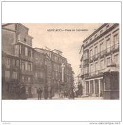 LCRÑTP5747-LFTMC300TCES.Tarjeta Postal DE CORUÑA.Edificios,Monumento Y Personas EN LA PLAZA DE CERVANTES.Santiago.C.L - Escritores