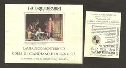 ITALIA - Etichetta Vino COLLI DI SCANDIANO E CANOSSA LAMBRUSCO Doc 2001 Cantina FERRARINI Di Novellara Rosso EMILIA - Red Wines